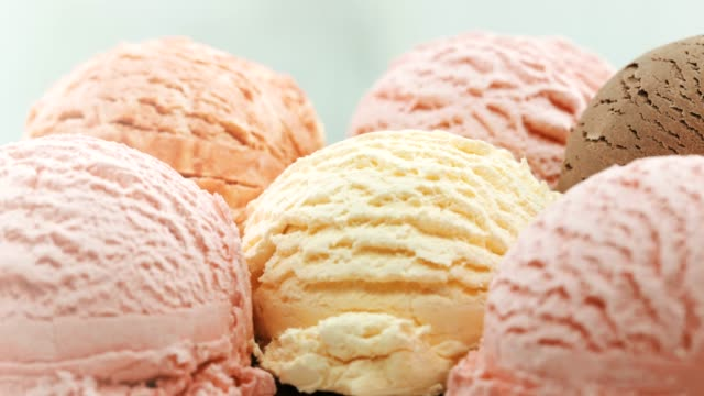 Close-up, colorful ice cream ballas