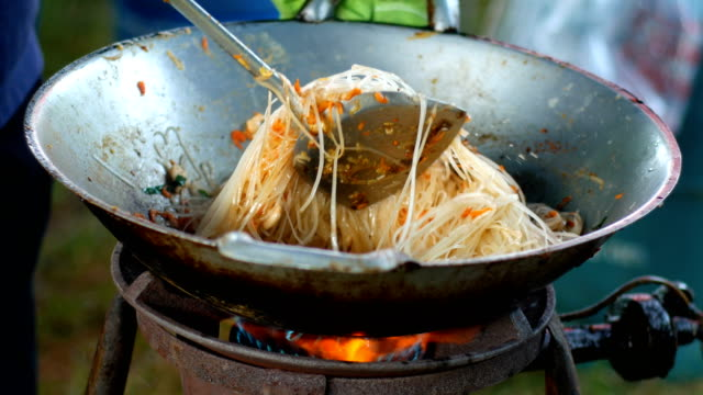 Close-up Cooking Fried Noodle, Pad Thai, Famous Street Food