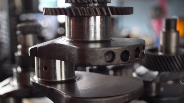 Close-up Crankshaft, Engine Parts in Workshop