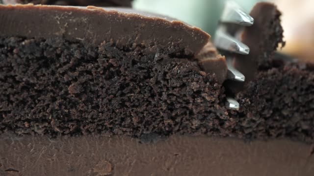 close-up cutting chocolate cake in the cafe - baking stock videos & royalty-free footage