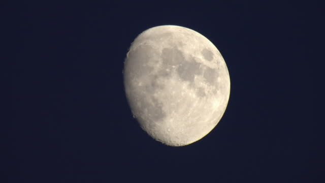 Closeup earth's moon in the Waxing Gibbous phase.