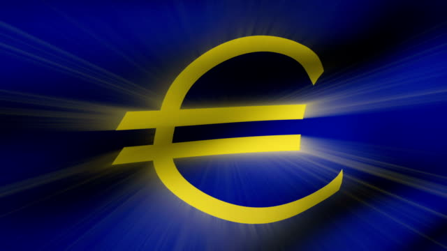 vidéos et rushes de close-up euro flag ripples in a breeze. - banderole signalisation