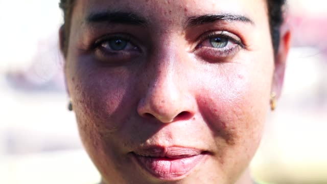 close-up face of beautiful woman - extreme close up stock videos & royalty-free footage