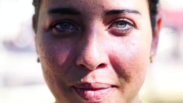close-up face of beautiful woman - natural condition stock videos & royalty-free footage