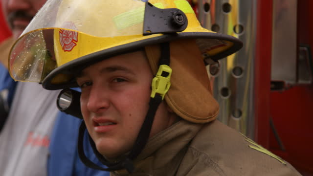 close-up face of fireman resting - myrtle creek stock videos and b-roll footage