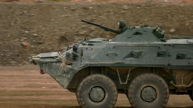 close-up - fast moving armored personnel carrier - amphibious vehicle stock videos & royalty-free footage