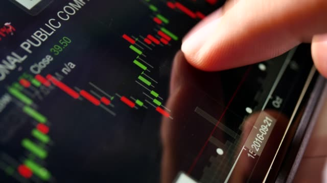 close-up financial analysts see charts and graphs on digital tablet - index finger stock videos & royalty-free footage