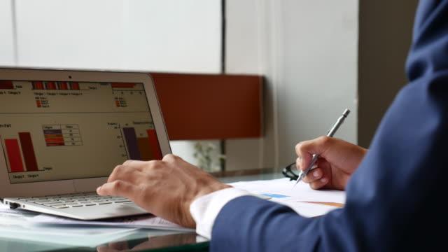 Close-up Financial expert Analyzing a business plan