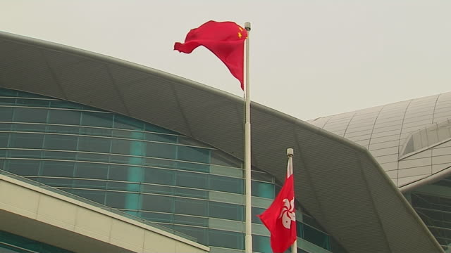 closeup flag hong kong china - hong kong flag stock videos & royalty-free footage