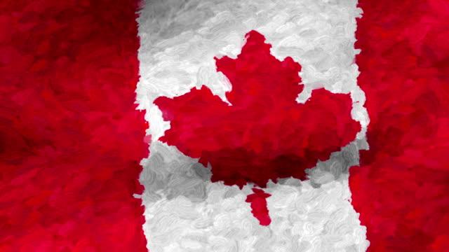 vidéos et rushes de close-up flag of canada ripples in a breeze. - banderole signalisation