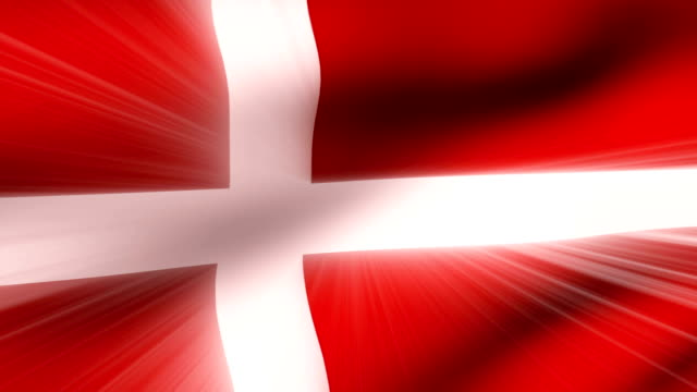 vidéos et rushes de close-up flag of denmark ripples in a breeze. - banderole signalisation