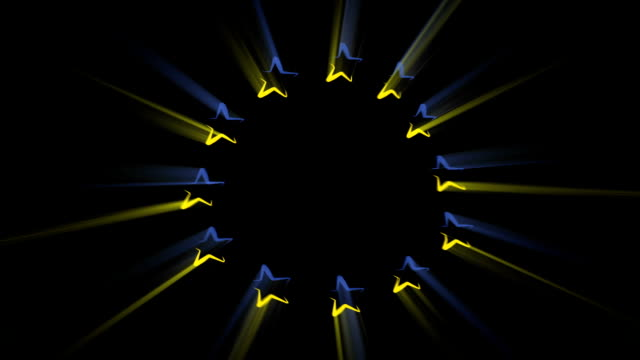 vidéos et rushes de close-up flag of europe ripples in a breeze. - banderole signalisation
