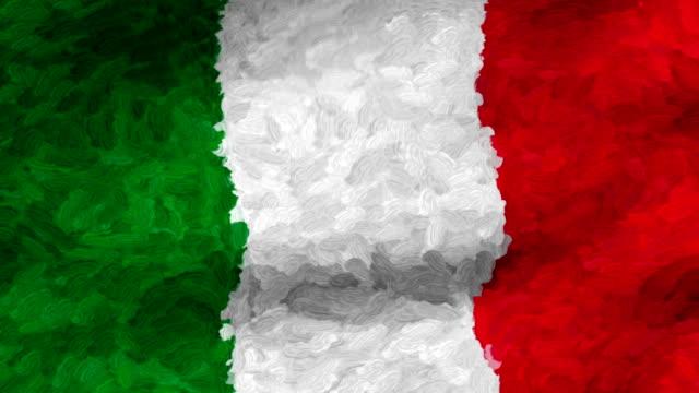 vidéos et rushes de close-up flag of italy ripples in a breeze. - banderole signalisation