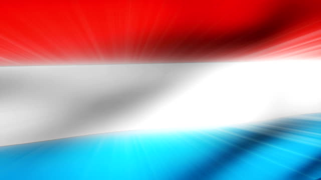 vidéos et rushes de close-up flag of luxembourg ripples in a breeze. - banderole signalisation