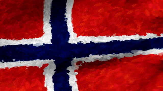 vidéos et rushes de close-up flag of norway ripples in a breeze. - banderole signalisation