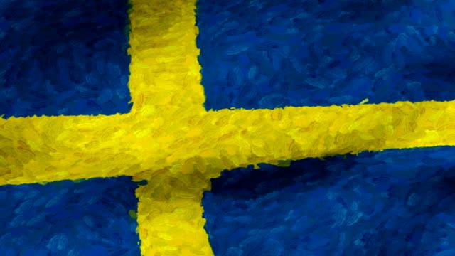 vidéos et rushes de close-up flag of sweden ripples in a breeze. - banderole signalisation