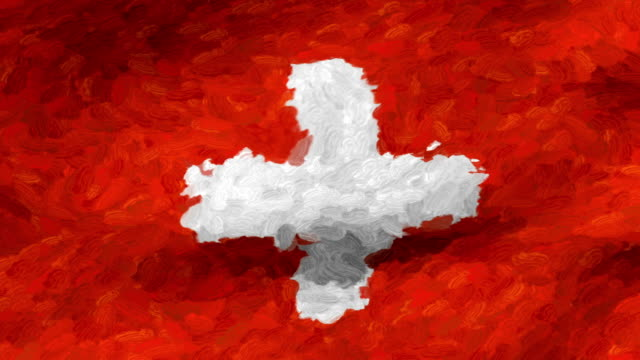 vidéos et rushes de close-up flag of switzerland ripples in a breeze. - banderole signalisation