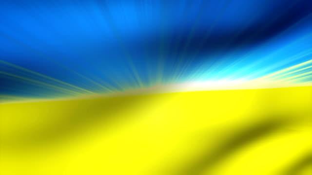 vidéos et rushes de close-up flag of ukraine ripples in a breeze. - banderole signalisation