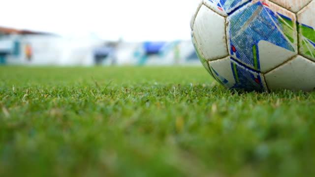 close-up: football grass field. - prateria zona erbosa video stock e b–roll