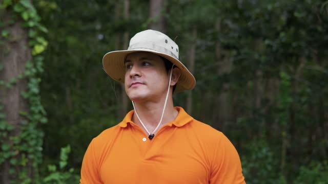 vídeos y material grabado en eventos de stock de vista frontal de cerca de un joven que camina por un bosque en la tarde de verano. está mirando hacia arriba en las copas de los árboles. - conservacionista