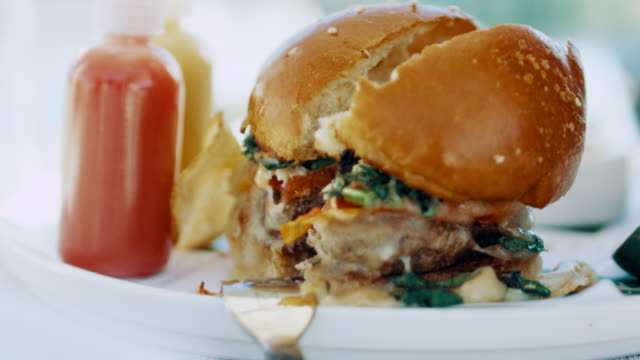 stockvideo's en b-roll-footage met close-up: gourmet burger (shot on red) - zuivelproduct