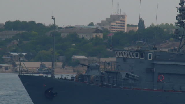 close-up - gunboat goes on alert - sevastopol crimea stock videos and b-roll footage
