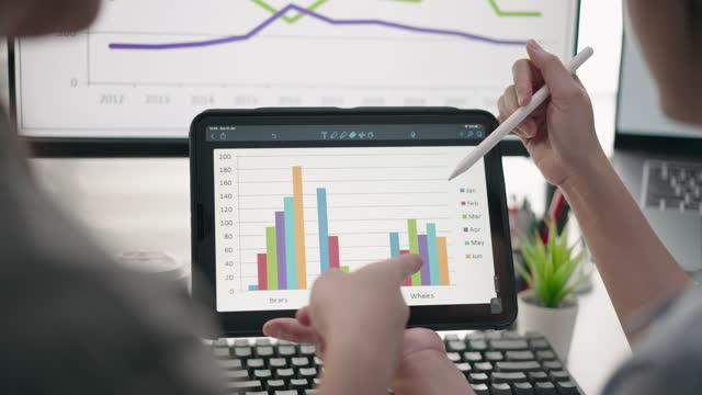 närbest när hand av business person team med hjälp av digital tablett analysera business data finansiella analytiker se diagram och grafer på digital tablett - affärsstrategi bildbanksvideor och videomaterial från bakom kulisserna