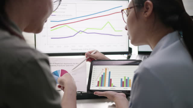 close-up hand of business person team using digital tablet analyzing business data financial analysts see charts and graphs on digital tablet - scrutiny stock videos & royalty-free footage