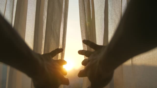 close-up hand open curtain in the morning - curtain stock videos & royalty-free footage