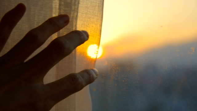 close-up hand open window curtain in the morning - curtain stock videos & royalty-free footage