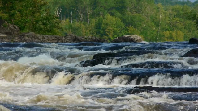 close-up, haskell pitch waterfalls on east branch of the penobscot river, water rushing over rocks, maine woods - maine stock videos & royalty-free footage