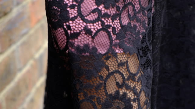 Closeup hemline lace slip dress and skir