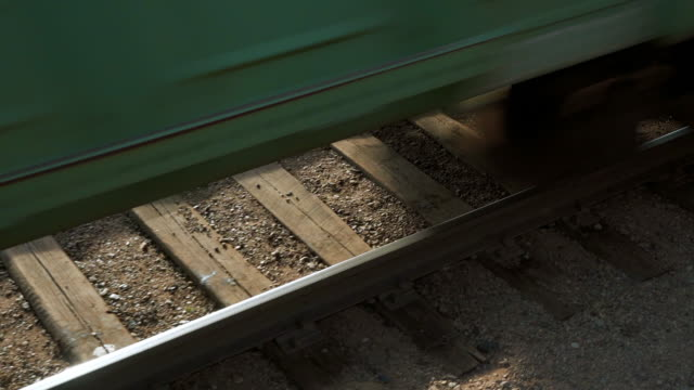 vidéos et rushes de close-up: high angle view of running train on railroad track - ulaanbaatar, mongolia - roue