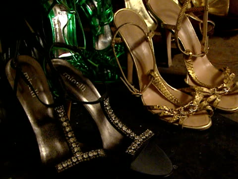 close-up high heels side by side in pairs backstage at fashion show/ belgrade, serbia  - side by side stock videos & royalty-free footage