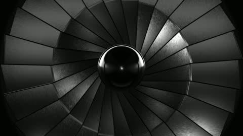 close-up jet turbine (loopable) - turbine stock videos & royalty-free footage