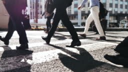 Close-up Led of Business Person Walking on Pedestrian Crossing of the Road, Commuting in Big City with Crowd of People on the Crosswalk