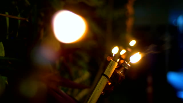 Close-up Light of Candle in Yi Peng Festival, Chiang Mai Province, Thailand