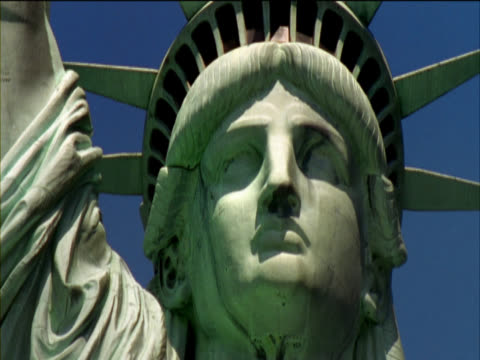 close-up low angle view of the head of the statue of liberty, new york, usa - female likeness stock videos & royalty-free footage