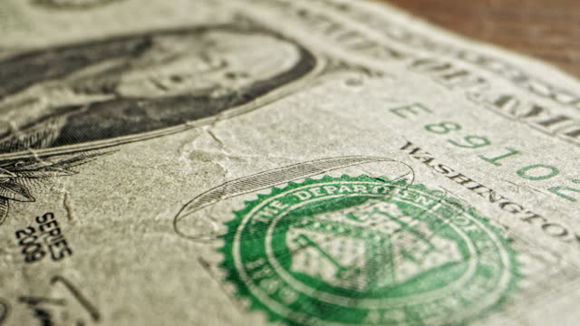close-up macro dolly shot of a 2009 us american one dollar bill - 2009 stock videos & royalty-free footage