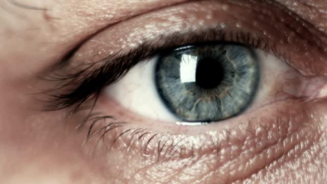男性の緑色の目のクローズ アップのマクロ撮影 - 瞬き点の映像素材/bロール