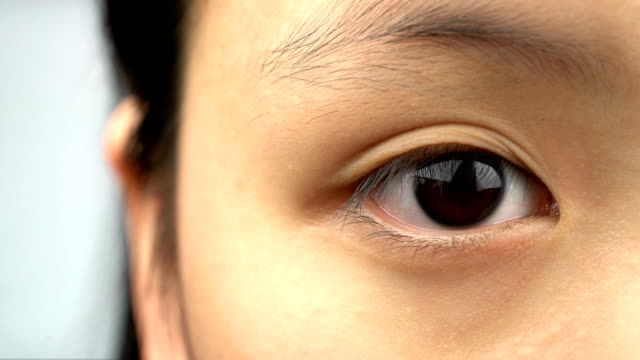 close-up macro shot of asian girl eye - eyelid stock videos and b-roll footage
