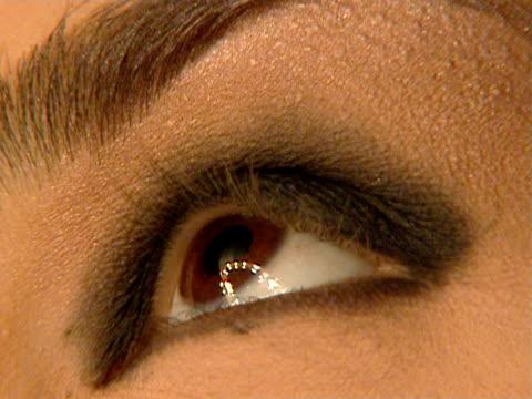 close-up makeup artist applying eyeshadow on fashion model/ belgrade, serbia  - serbia stock videos & royalty-free footage