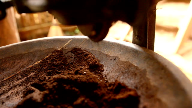 close-up: making coffee powder by grinding