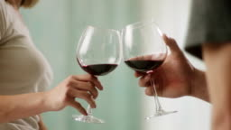 Close-up, man and woman toasting with red wine