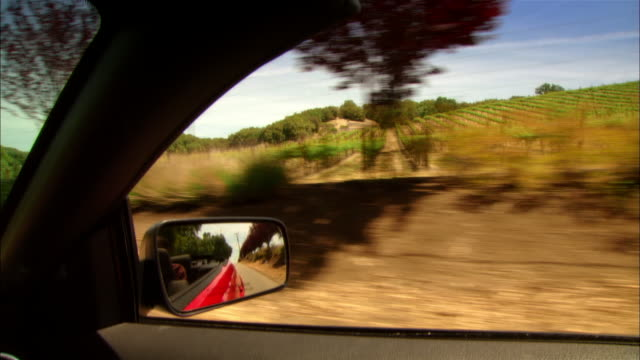 vídeos y material grabado en eventos de stock de close-up man sitting backseat of convertible while driving through rural wine country / paso robles, california, usa - retrovisor exterior