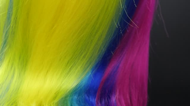 close-up multi colored hair texture, slow motion - bright stock videos & royalty-free footage