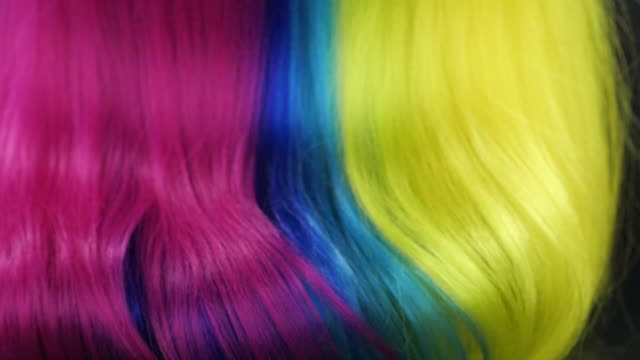 close-up multi colored hair texture, slow motion - black hairy women stock videos & royalty-free footage