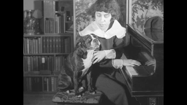 "close-up of a black and white dog, ""bijou,"" wearing a hat, glasses, and a pipe / bijou, seated on piano bench with singer hermine hudon; she removes... - stunt stock videos & royalty-free footage"