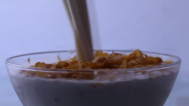 Close-up of a bowl overflowing with milk