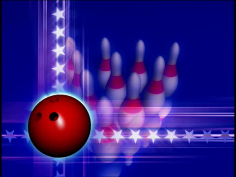 close-up of a bowling ball and balling pins spinning - bowling ball stock videos & royalty-free footage
